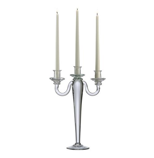 Alford Clear Glass Tall 15 Inch Taper Centerpiece Candelabra | Kathy Kuo Home