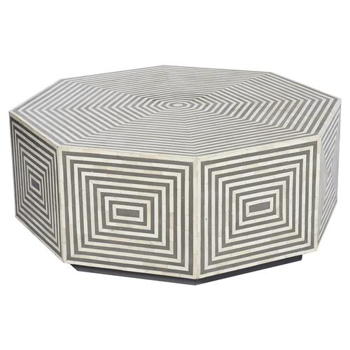 Interlude Austen Global Bazaar Grey White Bone Resin Octagonal Round Coffee Table | Kathy Kuo Home