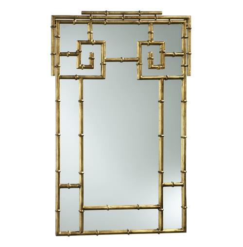 Hollywood Regency Faux Bamboo Large Gold Foyer Mirror | Kathy Kuo Home