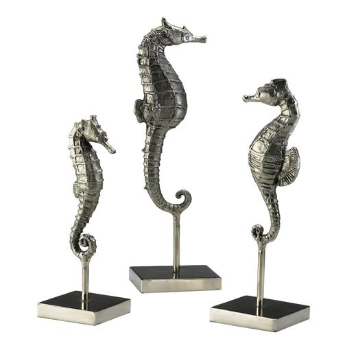 Biscayne Coastal Beach Antique Silver Seahorse Trio Sculpture | Kathy Kuo Home