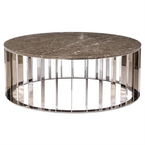 Interlude Greer Modern Brown Marble Stainless Steel Round
