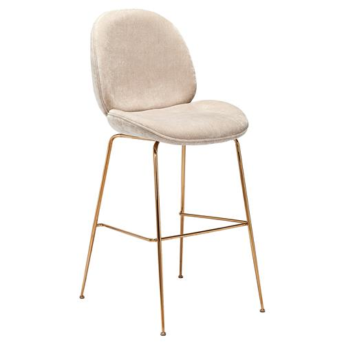 Interlude Luna Modern Beige Textured Chenille Gold Stainless Steel Bar Stool | Kathy Kuo Home