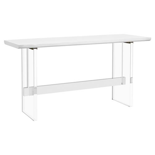 Interlude Quentin Modern White Wood Acrylic Dining Bar Table