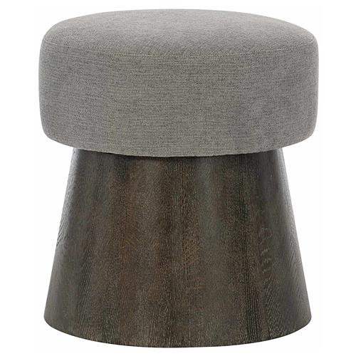 Landon Modern Masculine Grey Upholstered Charcoal Brown Wood Round Conical Stool | Kathy Kuo Home