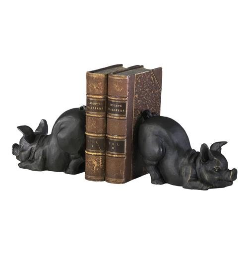 Playful Piglets Cast Iron Antique Brown Bookends | Kathy Kuo Home
