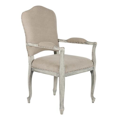 French Country Camel Back Stone Gray Dining Arm Chair | Kathy Kuo Home
