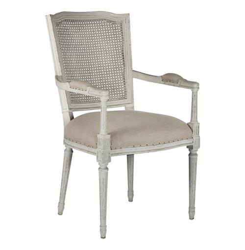 French Country Ethan Painted Grey Caned Back Dining Chair | Kathy Kuo Home