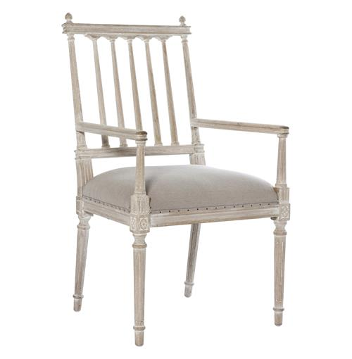 Coyle Shabby French Antique White Dining Arm Chair | Kathy Kuo Home