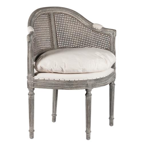 Antique Grey French Country Low Back Corner Occasional Chair | Kathy Kuo Home