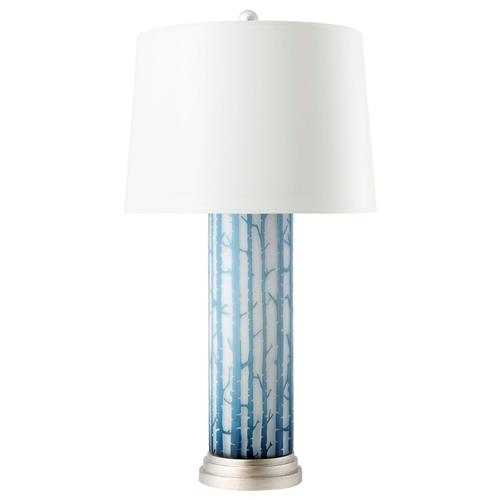 Bungalow 5 Birch Modern Blue Birch Layered Glass Cylinder Linen Table Lamp | Kathy Kuo Home