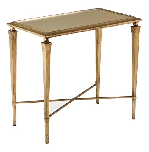 Alina Hollywood Regency Antique Gold Leaf Side End Table | Kathy Kuo Home