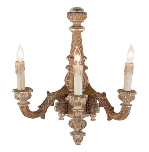 French Country Carved Wood 3 Light Wall Sconce