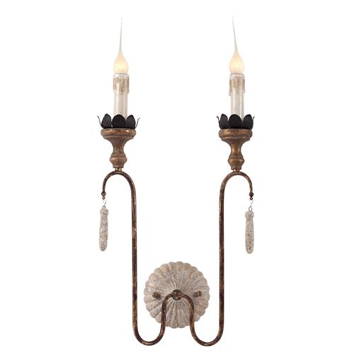 Joni 2 Light Shabby French Simple Wall Sconces | Kathy Kuo Home