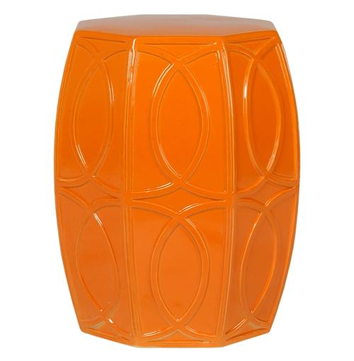 Modern Coastal Beach Bright Orange Treillage Garden Seat Stool | Kathy Kuo Home