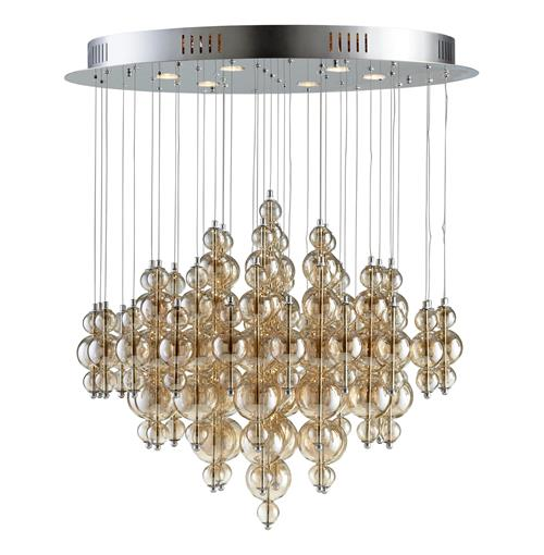 Bubbles Smokey Brown Glass Balls Murano Style Ceiling Mount - 6 Light | Kathy Kuo Home