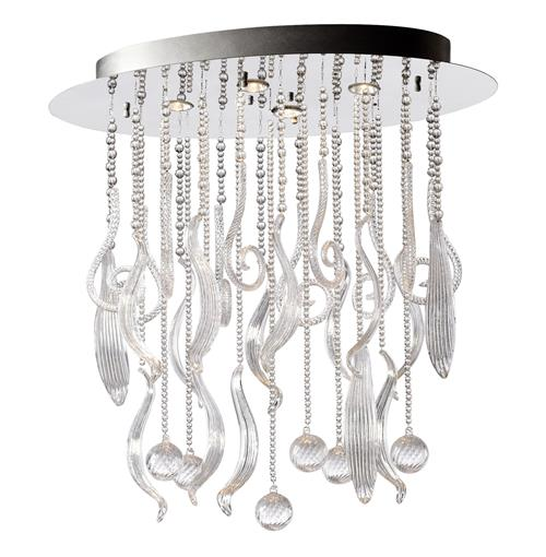 Oval Mirabella Clear Glass Murano Style 4 Light Ceiling Mount | Kathy Kuo Home