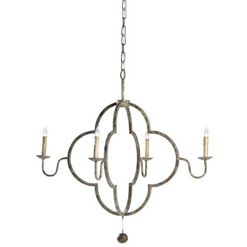 Lewis Quatrefoil French Country Chipped Gold Chandelier | Kathy Kuo Home