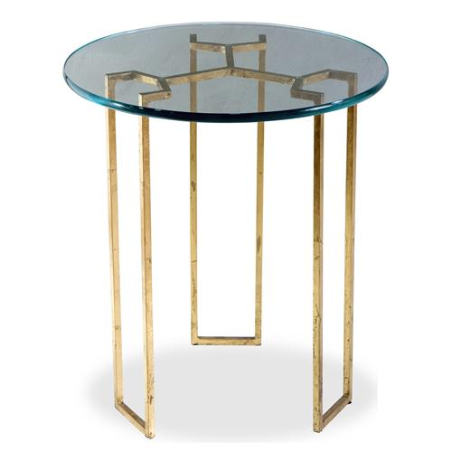 Triad Modern Gold Leaf and Glass Side Table | Kathy Kuo Home