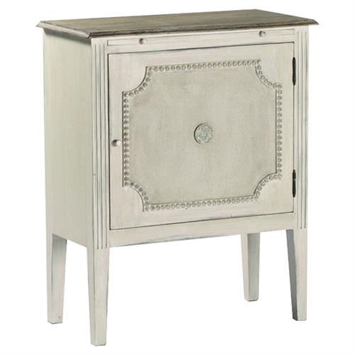 Chemin French Country Antique White Burlap End Table | Kathy Kuo Home