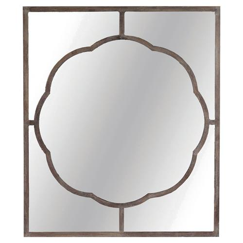 Oliver French Country Scalloped Black Iron Rectangular Wall Mirror | Kathy Kuo Home