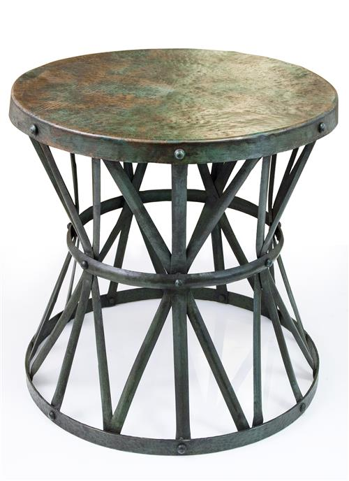Kordofan Dark Antique Verdigris Green Hammered Iron Rustic Side Table | Kathy Kuo Home