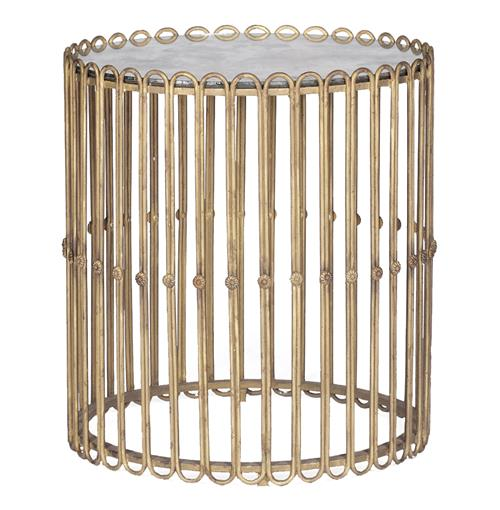 Beatrice Hollywood Regency Gilded Iron Mirror Drum Side Table | Kathy Kuo Home