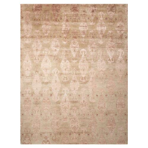 "Serena Modern Classic Sand Ikat Hand Knotted Area Rug - 3'9"" x 5'9"" 
