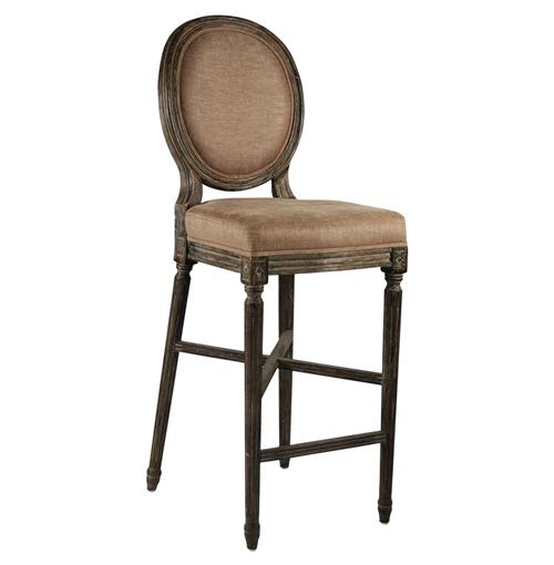 Medallion Oak French Country Bar Stool in Copper Linen | Kathy Kuo Home