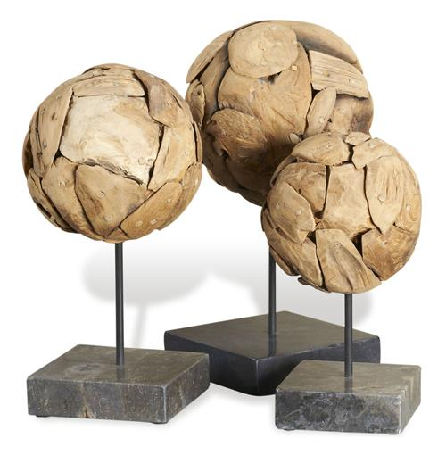 Sumatra Modern Teak Wood Sphere Sculptures on Stand- Set of 3 | Kathy Kuo Home