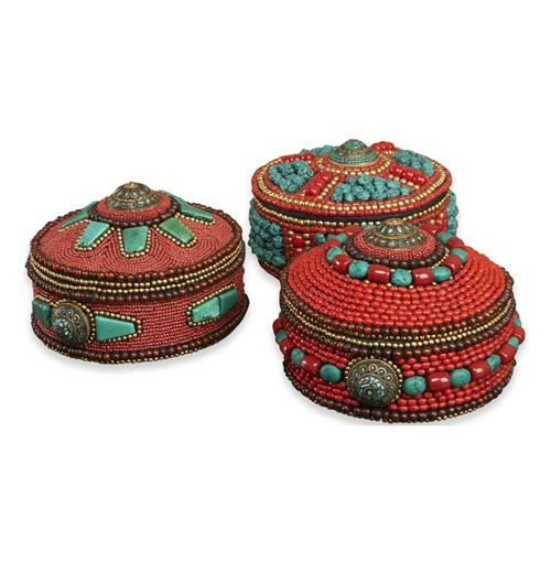 Rossini Global Rustic Coral Turquoise Decorative Boxes - Set of 3 | Kathy Kuo Home