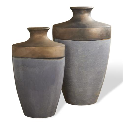 Napa Antique Rustic Bronze Cloudy Blue Modern Vases - Set of 2 | Kathy Kuo Home