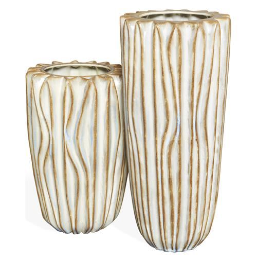 Zora Antique Cream and Brown Modern Ceramic Vases- Set of 2 | Kathy Kuo Home