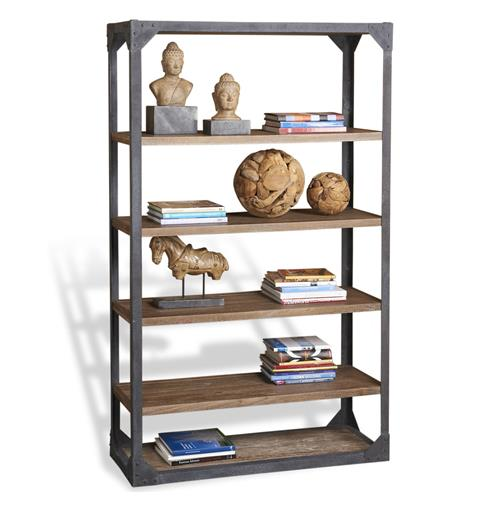 Jardin Antique Oak Industrial Loft Rustic Iron Large Bookcase | Kathy Kuo Home