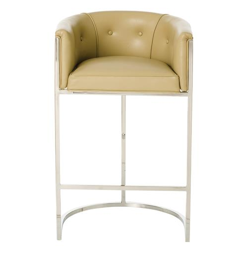 Calvin top grain taupe leather art deco barstool kathy kuo home - Deco taupe ...
