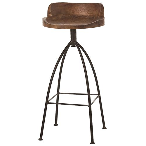Missoula Industrial Loft Antique Wood Iron Swivel Bar Stool | Kathy Kuo Home