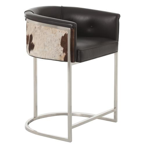 Calvin Top Grain Black Hide Leather Art Deco Counter Stool | Kathy Kuo Home
