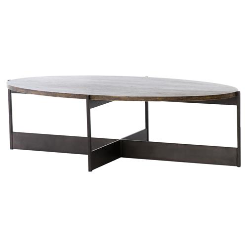 Amanda Modern Classic Oval Brown Oak Top with Sturdy Iron Frame Coffee Table | Kathy Kuo Home