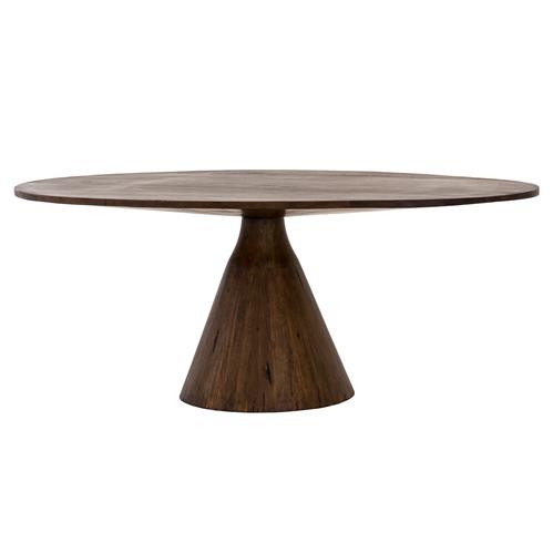Antonio Mid Century Nature Inspired Oval Top Wood Pedestal Dining Table | Kathy Kuo Home