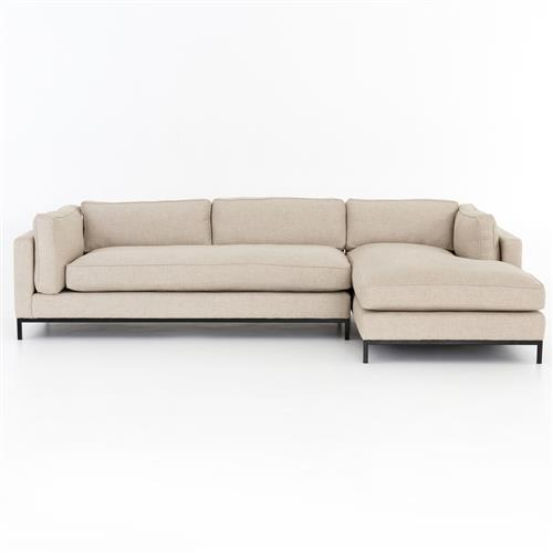 Babette Modern Classic Beige Upholstered 2 Piece Chaise RAF Sectional | Kathy Kuo Home
