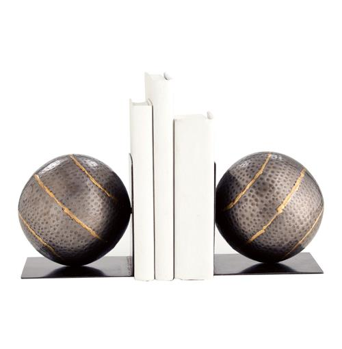Arteriors Gauge Hammered Iron Industrial Modern Iron Bookends | Kathy Kuo Home