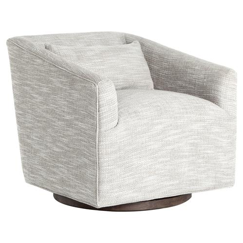 Daire Modern Grey Upholstered Square Swivel Living Room Chair