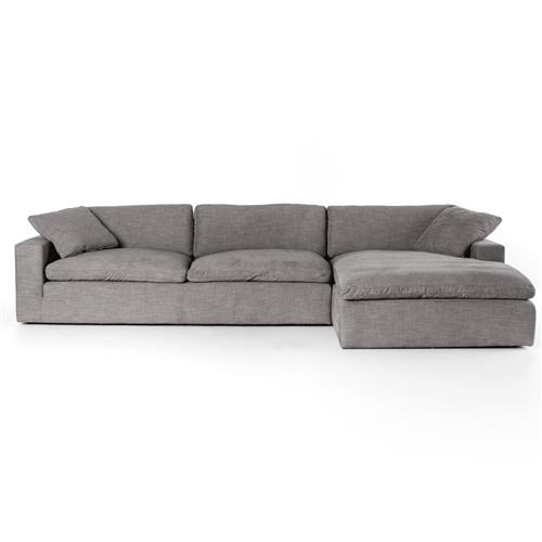 Sadie Modern Classic Grey Upholstered 2 Piece Right Arm Facing Sectional - 136"