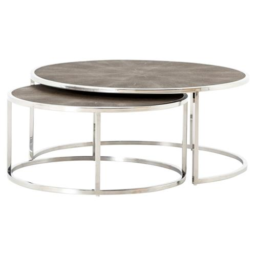 Ena Mid Century Round Shagreen Top Stainless Frame Nesting