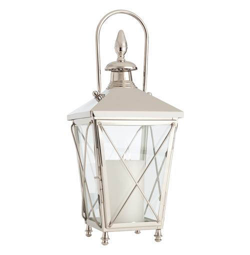 "Reagan Large 27"" Polished Nickel Contemporary Square Candle Lantern 