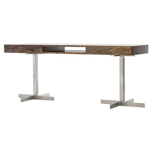 Geneva Modern 2 Drawer Solid Peroba Wood Stainless Steel Legs Desk | Kathy Kuo Home