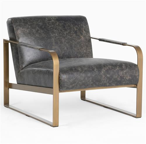 Halle Modern Classic Black Leather Upholstered Antique Brass