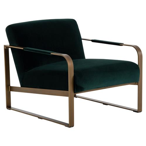 Halle Modern Classic Dark Green Upholstered Antique Brass Armchair | Kathy Kuo Home
