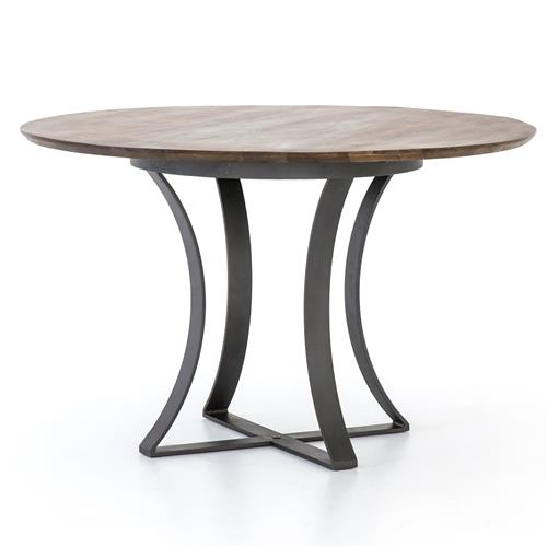 Hanna Modern Round Dark Wood Grey Iron Pedestal Dining Table 48 D 41 D 50 D Kathy Kuo Home
