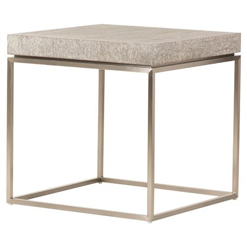 Jade Modern Chunky Square Wood Top Bronze Steel Frame Side End Table | Kathy Kuo Home