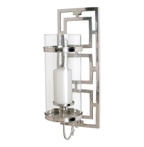 Wilson Contemporary Polished Nickel Rectangle Hurricane Sconce | Kathy Kuo Home